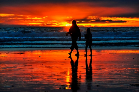 A Mom and Daughter on the Beach at Sunset in Oceanside - Decembe